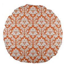 Nectarine Orange Damask Pattern Large 18  Premium Round Cushion  by Zandiepants
