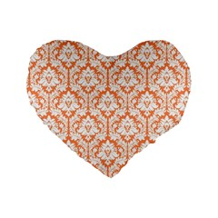 Nectarine Orange Damask Pattern Standard 16  Premium Heart Shape Cushion  by Zandiepants