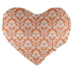 Nectarine Orange Damask Pattern Large 19  Premium Heart Shape Cushion by Zandiepants