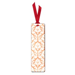 White On Orange Damask Small Bookmark by Zandiepants