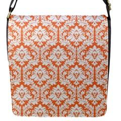 Nectarine Orange Damask Pattern Flap Closure Messenger Bag (s) by Zandiepants