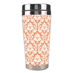 White On Orange Damask Stainless Steel Travel Tumbler