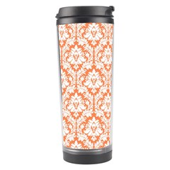 White On Orange Damask Travel Tumbler by Zandiepants