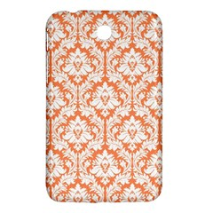 White On Orange Damask Samsung Galaxy Tab 3 (7 ) P3200 Hardshell Case  by Zandiepants