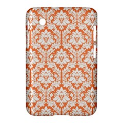 White On Orange Damask Samsung Galaxy Tab 2 (7 ) P3100 Hardshell Case  by Zandiepants