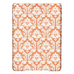 White On Orange Damask Apple Ipad Air Hardshell Case by Zandiepants