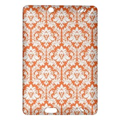 White On Orange Damask Kindle Fire Hd 7  (2nd Gen) Hardshell Case by Zandiepants