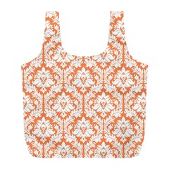 Nectarine Orange Damask Pattern Full Print Recycle Bag (l)