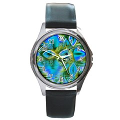 Mystical Spring, Abstract Crystal Renewal Round Leather Watch (silver Rim) by DianeClancy