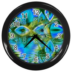 Mystical Spring, Abstract Crystal Renewal Wall Clock (black) by DianeClancy