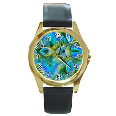Mystical Spring, Abstract Crystal Renewal Round Leather Watch (gold Rim)  by DianeClancy