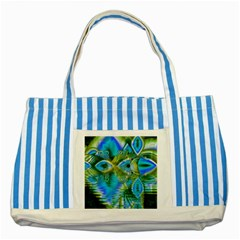 Mystical Spring, Abstract Crystal Renewal Blue Striped Tote Bag by DianeClancy