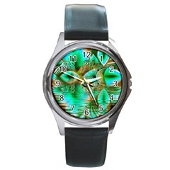 Spring Leaves, Abstract Crystal Flower Garden Round Leather Watch (silver Rim) by DianeClancy
