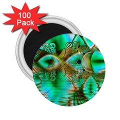 Spring Leaves, Abstract Crystal Flower Garden 2 25  Button Magnet (100 Pack) by DianeClancy