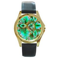 Spring Leaves, Abstract Crystal Flower Garden Round Leather Watch (gold Rim)  by DianeClancy