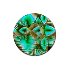 Spring Leaves, Abstract Crystal Flower Garden Drink Coaster (round) by DianeClancy
