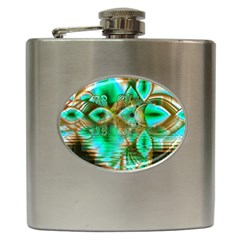 Spring Leaves, Abstract Crystal Flower Garden Hip Flask by DianeClancy