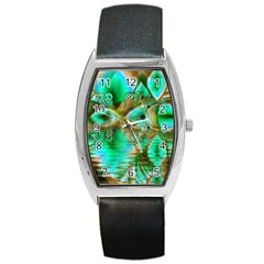 Spring Leaves, Abstract Crystal Flower Garden Tonneau Leather Watch by DianeClancy