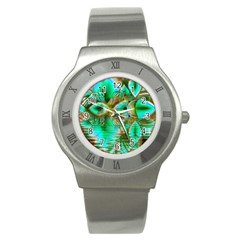 Spring Leaves, Abstract Crystal Flower Garden Stainless Steel Watch (slim) by DianeClancy