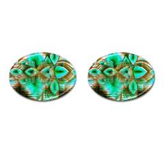 Spring Leaves, Abstract Crystal Flower Garden Cufflinks (oval) by DianeClancy