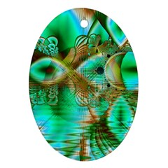 Spring Leaves, Abstract Crystal Flower Garden Oval Ornament (two Sides) by DianeClancy