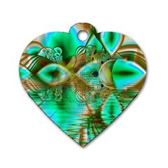 Spring Leaves, Abstract Crystal Flower Garden Dog Tag Heart (one Sided)  by DianeClancy