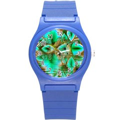 Spring Leaves, Abstract Crystal Flower Garden Plastic Sport Watch (small) by DianeClancy