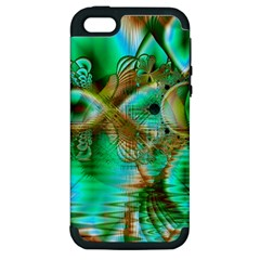Spring Leaves, Abstract Crystal Flower Garden Apple Iphone 5 Hardshell Case (pc+silicone) by DianeClancy