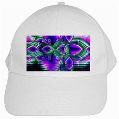 Evening Crystal Primrose, Abstract Night Flowers White Baseball Cap by DianeClancy