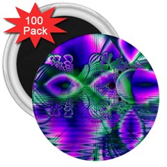 Evening Crystal Primrose, Abstract Night Flowers 3  Button Magnet (100 Pack) by DianeClancy