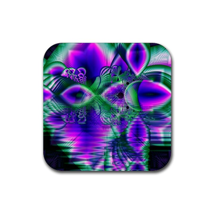 Evening Crystal Primrose, Abstract Night Flowers Drink Coaster (Square)