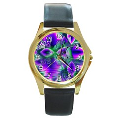 Evening Crystal Primrose, Abstract Night Flowers Round Leather Watch (gold Rim)  by DianeClancy