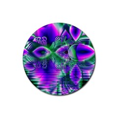 Evening Crystal Primrose, Abstract Night Flowers Drink Coaster (round) by DianeClancy