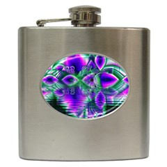 Evening Crystal Primrose, Abstract Night Flowers Hip Flask by DianeClancy