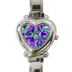 Evening Crystal Primrose, Abstract Night Flowers Heart Italian Charm Watch  by DianeClancy