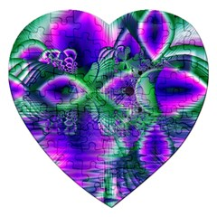 Evening Crystal Primrose, Abstract Night Flowers Jigsaw Puzzle (heart) by DianeClancy