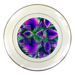 Evening Crystal Primrose, Abstract Night Flowers Porcelain Display Plate by DianeClancy
