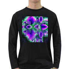 Evening Crystal Primrose, Abstract Night Flowers Men s Long Sleeve T Shirt (dark Colored) by DianeClancy