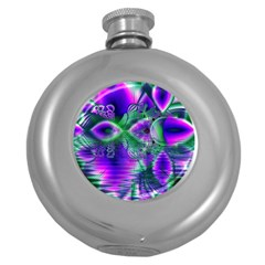 Evening Crystal Primrose, Abstract Night Flowers Hip Flask (round) by DianeClancy