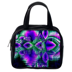 Evening Crystal Primrose, Abstract Night Flowers Classic Handbag (one Side) by DianeClancy