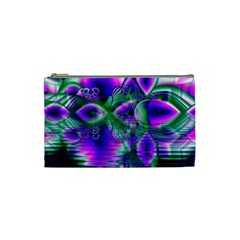 Evening Crystal Primrose, Abstract Night Flowers Cosmetic Bag (small) by DianeClancy