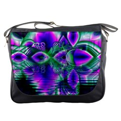 Evening Crystal Primrose, Abstract Night Flowers Messenger Bag by DianeClancy