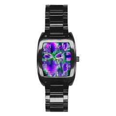 Evening Crystal Primrose, Abstract Night Flowers Stainless Steel Barrel Watch by DianeClancy