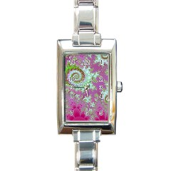Raspberry Lime Surprise, Abstract Sea Garden  Rectangular Italian Charm Watch by DianeClancy