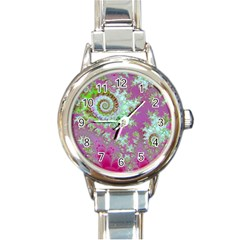 Raspberry Lime Surprise, Abstract Sea Garden  Round Italian Charm Watch by DianeClancy