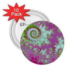 Raspberry Lime Surprise, Abstract Sea Garden  2 25  Button (10 Pack) by DianeClancy