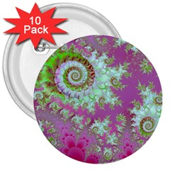 Raspberry Lime Surprise, Abstract Sea Garden  3  Button (10 Pack) by DianeClancy