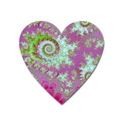Raspberry Lime Surprise, Abstract Sea Garden  Magnet (heart) by DianeClancy