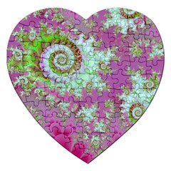 Raspberry Lime Surprise, Abstract Sea Garden  Jigsaw Puzzle (heart) by DianeClancy