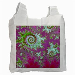 Raspberry Lime Surprise, Abstract Sea Garden  White Reusable Bag (one Side) by DianeClancy